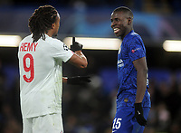 Football - 2019 / 2020 UEFA Champions League - Group H: Chelsea vs. Lille OSC<br /> <br /> Ex Chelsea player Loic Remy shares a joke with Kurt Kouma after the match, at Stamford Bridge.<br /> <br /> COLORSPORT/ANDREW COWIE