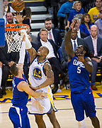 Golden State Warriors forward David West (3) lays the ball into the basket against the LA Clippers at Oracle Arena in Oakland, Calif., on January 10, 2018. (Stan Olszewski/Special to S.F. Examiner)