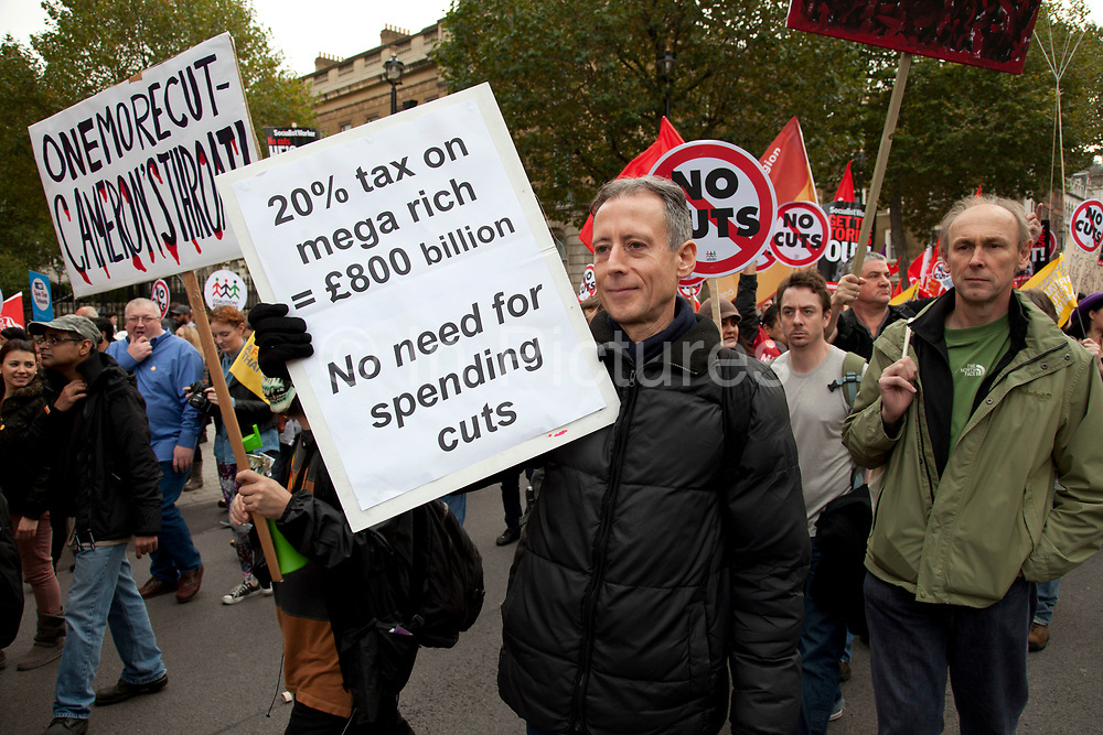 London, UK. Saturday 20th October 2012. Peter Tatchell at the TUC (Trades Union Congress) march 'A Future That Works'. Demonstration against austerity cuts by the government.