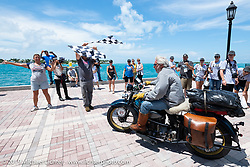 Frank Westfall riding his 1930 Henderson KJ over the finish line after the Cross Country Chase motorcycle endurance run from Sault Sainte Marie, MI to Key West, FL. (for vintage bikes from 1930-1948). The Grand Finish in Key West's Mallory Square after the 110 mile Stage-10 ride from Miami to Key West, FL and after covering 2,368 miles of the Cross Country Chase. Sunday, September 15, 2019. Photography ©2019 Michael Lichter.