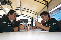MOTORSPORT - F1 2013 - BRITISH GRAND PRIX - GRAND PRIX D'ANGLETERRE - SILVERSTONE (GBR) - 28 TO 30/06/2013 - PHOTO : FREDERIC LE FLOC'H / DPPI - AMBIANCE LUNCH FOR CHARLES PIC AND HIS PHYSIO EMILIEN COLOMBAIN