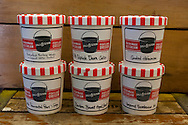 """Ice Cream flavored with beer at Salt & Straw, an ice cream scoop shop in Portland, Oregon.  The """"Six Pack"""" of beer flavored ice cream."""