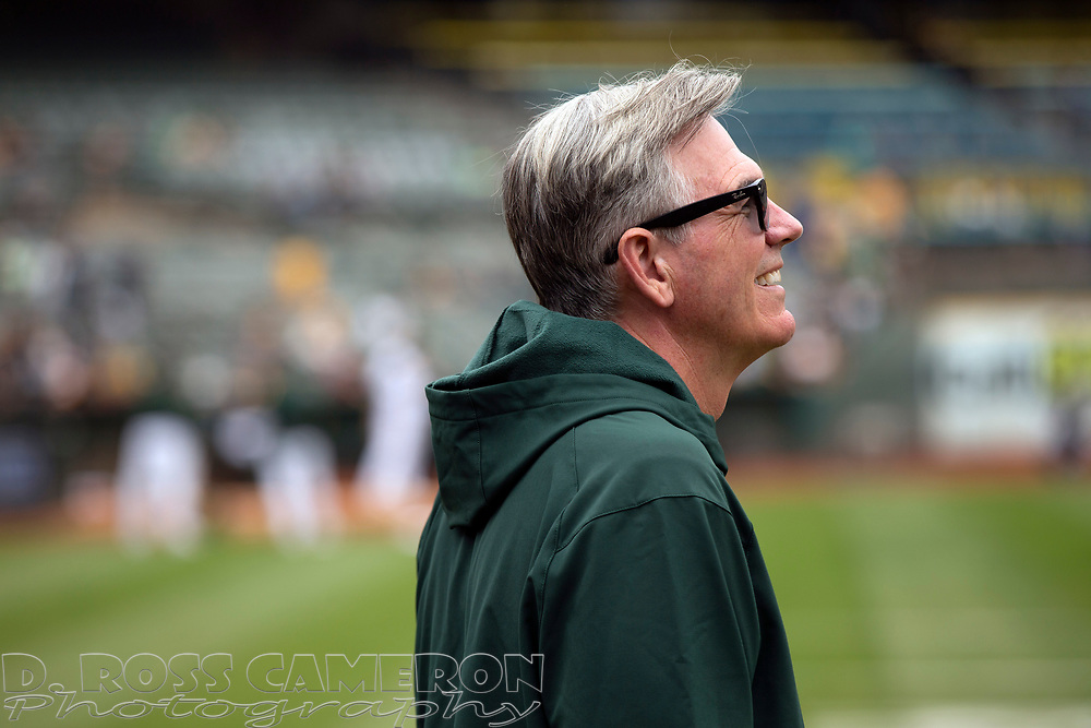 Sep 26, 2021; Oakland, California, USA; Oakland Athletics Executive Vice President of Baseball Operations Billy Beane on the field before a game against the Houston Astros at RingCentral Coliseum. Mandatory Credit: D. Ross Cameron-USA TODAY Sports