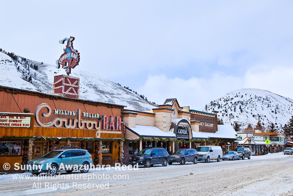 The Million Dollar Cowboy Bar, Town Square, Jackson Hole, WY.  Winter Scene.