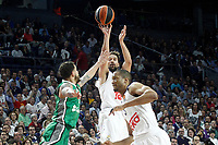 Real Madrid's Sergio Llull (c) and Anthony Randolph (r) and Darussafaka Dogus Istambul's Scottie Wilbekin during Euroleague, playoffs, Game 2. April 21, 2017. (ALTERPHOTOS/Acero)