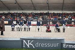 Podium Para Dressage, Vermeulen Demi, Bolmer Gert, Krijnen Lotte, Goes Ilona, Van Geenen Yvette, Voets Sanne, Van der Horst Rixt, Den Dulk Nicole, Hosmar Frank, (NED)<br /> Para Dressuur Finale<br /> Dutch Championship Dressage - Ermelo 2015<br /> © Hippo Foto - Dirk Caremans<br /> 19/07/15