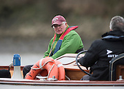 Putney, London, Union Athletics USA. Crew Coach, Burt APFELBAUM watch's the racing from the umpires launch at the Pre Boat Race Fixture, Oxford University Women's Boat Club {OUWBC} vs Molesey Boat Club, over the River Thames, Championship Course Putney to Mortlake Sunday  22/02/2015  [Mandatory Credit; Peter Spurrier/Intersport-images]