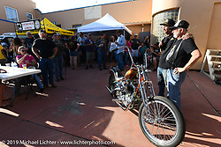 JP Rodman with the custom Ironhead Sportster he built for the raffle at the Run to Raton. Raton, NM. USA. Saturday July 21, 2018. Photography ©2018 Michael Lichter.