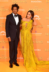 Jay-z and Beyonce attending Disney's The Lion King European Premiere held in Leicester Square, London.