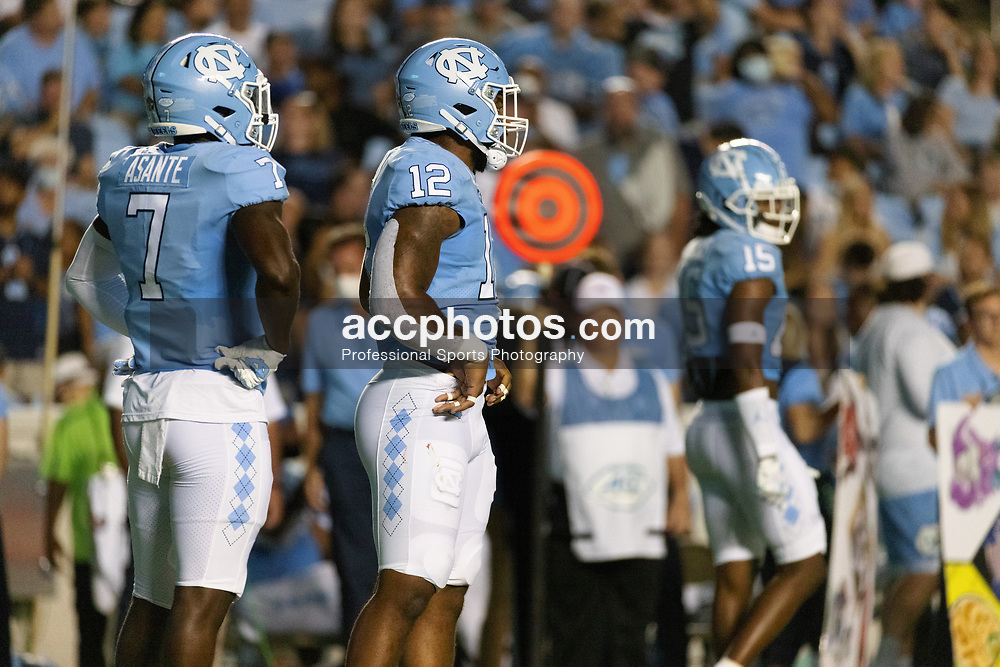CHAPEL HILL, NC - SEPTEMBER 11: Tomon Fox #12 of the North Carolina Tar Heels plays during a game against the Georgia State Panthers on September 11, 2021 at Kenan Stadium in Chapel Hill, North Carolina. North Carolina won 59-17. (Photo by Peyton Williams/Getty Images) *** Local Caption *** Tomon Fox