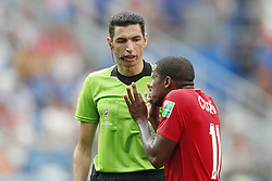 (L-R) referee Ghead Grisha, Armando Cooper of Panama during the 2018 FIFA World Cup Russia group G match between England and Panama at the Nizhny Novgorod stadium on June 24, 2018 in Nizhny Novgorod, Russia