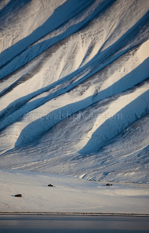 """View of the mountains across the Adventfjorden from Longyearbyen, Spitsbergen, in the Norwegian archipelago of Svalbard This mage can be licensed via Millennium Images. Contact me for more details, or email mail@milim.com For prints, contact me, or click """"add to cart"""" to some standard print options."""