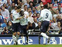 Photo: Jonathan Butler.<br /> England v Israel. UEFA European Championships Qualifying. 08/09/2007.<br /> Shaun Wright-Phillips of England celebrates with team mate Gareth Barry (lf) after scoring.