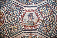 Roman Mosaic from the Cubilcle with Erotic Scene, room 24, at the Villa Romana del Casale,  4th century AD. Sicily, Italy. A UNESCO World Heritage Site. .<br /> <br /> If you prefer to buy from our ALAMY PHOTO LIBRARY  Collection visit : https://www.alamy.com/portfolio/paul-williams-funkystock/villaromanadelcasale.html<br /> Visit our ROMAN MOSAICS  PHOTO COLLECTIONS for more photos to buy as buy as wall art prints https://funkystock.photoshelter.com/gallery/Roman-Mosaics-Roman-Mosaic-Pictures-Photos-and-Images-Fotos/G00008dLtP71H_yc/C0000q_tZnliJD08