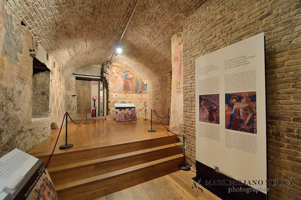 """A descent into the world of colour takes you into the heart of the Cathedral to the place popularly known as the """"Crypt"""", one of the most important archaeological discoveries of the past twenty years. Work initially targeted the recovery of rooms connected to the Oratories of the Young Saint John and Saint Jenarius that the Opera della Metropolitana commissioned in 1999. They soon spread to the area under the Cathedral's choir, making a totally unexpected discovery of a room decorated with a cycle of paintings executed by a series of artists active in Siena during the second half of the XIII century, including Guido da Siena, Dietisalvi di Speme, Guido di Graziano and Rinaldo da Siena."""