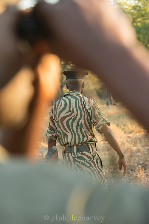 Safari guard and guide close up, South Luangwa National Park, Zambia