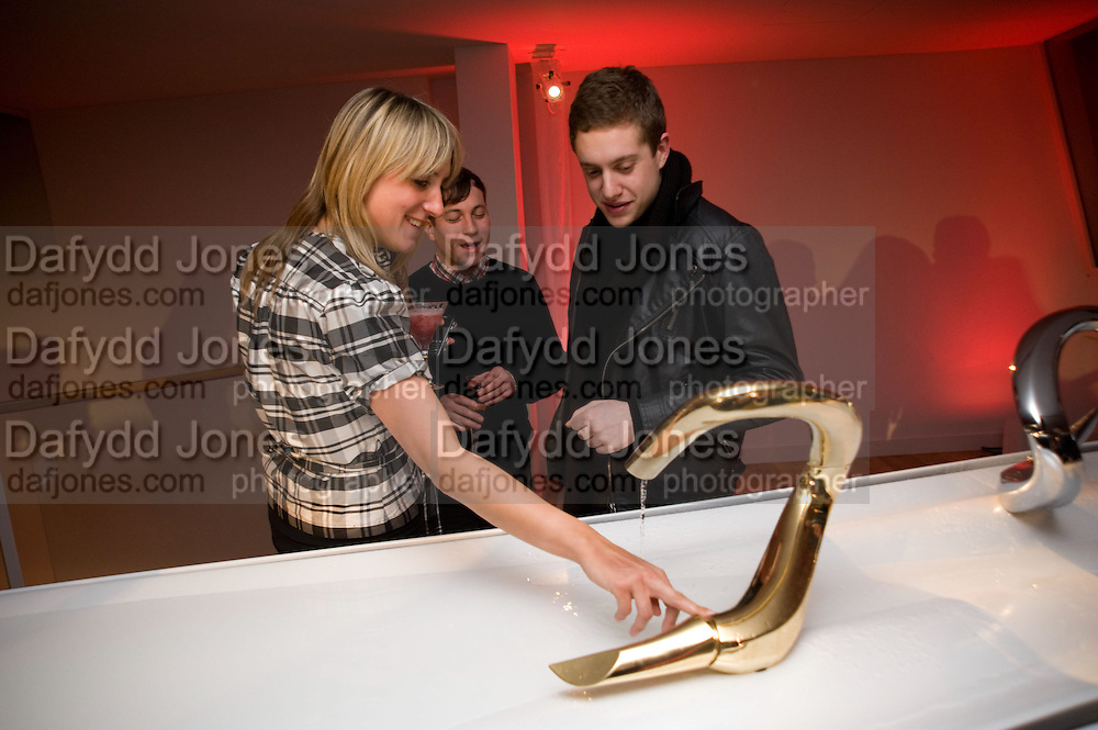 KATIE LANHAM; ITHAI GOLDBERG; ANTHONY SPECTER. Zaha Hadid and Triflow Concepts host the launch of a pioneering new kitchen and bathroom lifestyle. 46 Portland Place. London. 28 January 2009 *** Local Caption *** -DO NOT ARCHIVE-© Copyright Photograph by Dafydd Jones. 248 Clapham Rd. London SW9 0PZ. Tel 0207 820 0771. www.dafjones.com.<br /> KATIE LANHAM; ITHAI GOLDBERG; ANTHONY SPECTER. Zaha Hadid and Triflow Concepts host the launch of a pioneering new kitchen and bathroom lifestyle. 46 Portland Place. London. 28 January 2009