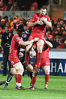 Rugby Union - 2017 / 2018 European Rugby Champions Cup: Scarlets vs. RC Toulonnaise<br /> <br /> David Bulbring of Llanelli Scarlets  leaps to take the ball from a kick off, at Parc y Scarlets, Llanelli.<br /> <br /> COLORSPORT/WINSTON BYNORTH