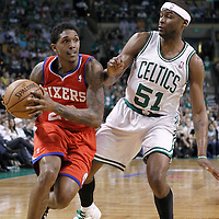 12 May 2012: Philadelphia Sixers point guard Lou Williams (23) drives past Boston Celtics point guard Keyon Dooling (51) during the Boston Celtics 92-91 victory over the Philadelphia Sixers, in Game 1 of the Eastern Conference semifinals playoff series, at the TD Banknorth Garden, Boston, Massachusetts, USA.