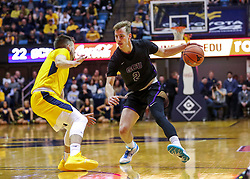Mar 20, 2019; Morgantown, WV, USA; Grand Canyon Antelopes guard Trey Drechsel (2) dribbles during the first half against the West Virginia Mountaineers at WVU Coliseum. Mandatory Credit: Ben Queen