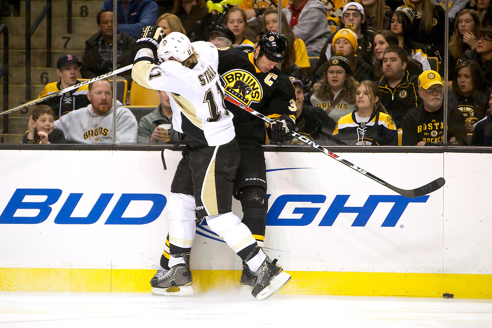 The game between the Pittsburgh Penguins and the Boston Bruins at the TD Bank Garden on January 15, 2011 in Boston, Massachusetts.