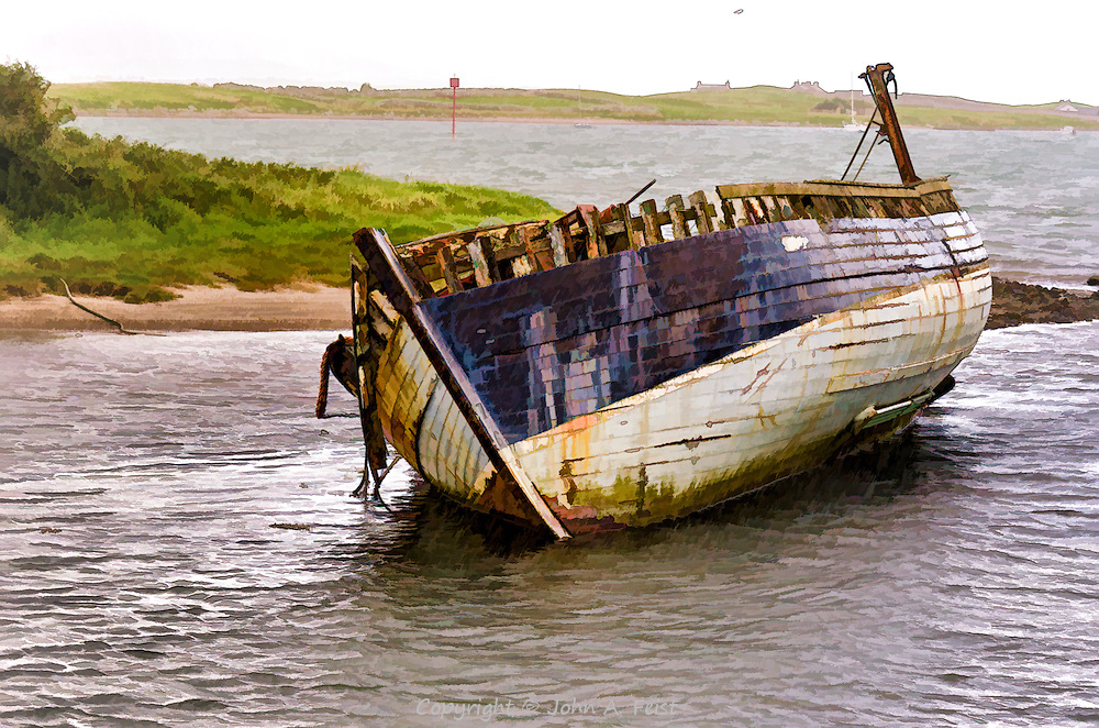 We were driving along the coast road in Co Sligo, Ireland when we spotted this shipwreck.  I don't know any more about this ship.  This treatment is very soft more of the feel of a painting.