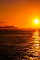 Sunrise in Rio de Janeiro, off Copacabana Beach, Brazil.