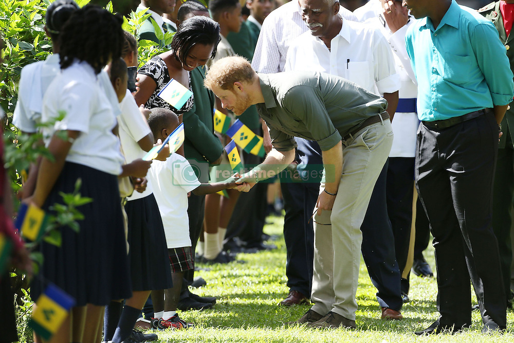 Prince Harry talks to children during a visit to the Botanic Gardens in Kingstown, Saint Vincent and the Grenadines, during the second leg of his Caribbean tour.