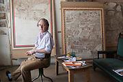 Adam Dant in his studio in Shoreditch. London. 21 August 2018