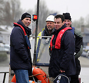 Putney. London. Tideway Week build up to the   2012 University Boat Race over parts of the Championship Course - Putney to Mortlake. Isis Goldie Umpire, Richard PHELPS (Left), Boat Race Umpire, John GARRETT (Centre Right), and Boat Race Assistant Umpire, Matthew PINSENT (Right). Thursday  05/04/2012 [Mandatory Credit; Karon Phillips/Intersport-images]..