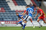 PENALTY MISS Ian Henderson shot is saved during the EFL Sky Bet League 1 match between Rochdale and Gillingham at Spotland, Rochdale, England on 23 September 2017. Photo by Daniel Youngs.