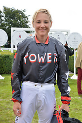 Olympic sailing Gold medalist Sarah Ayton at the Qatar Goodwood Festival, Goodwood, West Sussex England. 3 August 2017.<br /> Photo by Dominic O'Neill/SilverHub 0203 174 1069 sales@silverhubmedia.com