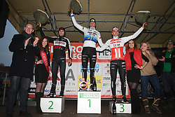 January 5, 2019 - Gullegem, BELGIUM - Belgian Gianni Vermeersch, Dutch Mathieu Van Der Poel and Dutch David Van Der Poel pictured on the podium after the men elite race of the Gullegem Cyclocross, Saturday 05 January 2019 in Gullegem, Belgium. BELGA PHOTO DAVID STOCKMAN (Credit Image: © David Stockman/Belga via ZUMA Press)