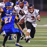 (Photograph by Bill Gerth/ for SVCN/9/1/17) Westmont #3 Cameron Rottler vs Prospect in a preseason football game at Prospect High School, Saratoga CA on 9/1/17. (Westmont 20 Prospect 0)
