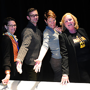 Chuck Palahniuk with Margaret Talcott, Virginia Prescott, and Patricia Lynch after speaking at The Music Hall in Portsmouth, NH. Nov. 3, 2011