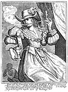 Young woman smoking a clay pipe and holding wine glass. Anti-smoking and drinking print on 'Apish Art of Tasting'. 17th century engraving