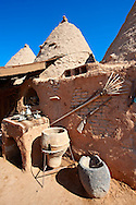 """Pictures of the beehive adobe buildings of Harran, south west Anatolia, Turkey.  Harran was a major ancient city in Upper Mesopotamia whose site is near the modern village of Altınbaşak, Turkey, 24 miles (44 kilometers) southeast of Şanlıurfa. The location is in a district of Şanlıurfa Province that is also named """"Harran"""". Harran is famous for its traditional 'beehive' adobe houses, constructed entirely without wood. The design of these makes them cool inside. 12 .<br /> <br /> If you prefer to buy from our ALAMY PHOTO LIBRARY  Collection visit : https://www.alamy.com/portfolio/paul-williams-funkystock/harran.html<br /> <br /> Visit our TURKEY PHOTO COLLECTIONS for more photos to download or buy as wall art prints https://funkystock.photoshelter.com/gallery-collection/3f-Pictures-of-Turkey-Turkey-Photos-Images-Fotos/C0000U.hJWkZxAbg ."""