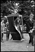 Nigella Lawson playing croquet at a Dangerous Sports Club Tea party. Given at the Gloucestershire home of the Dutch Ambassador Robbert Fack. 22 August 1981. Supported by Hugo Spowers, Hubie Gibbs and Adam Sedgewick, Film 8195f32