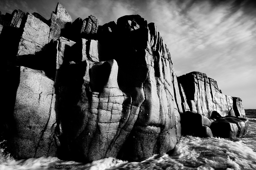 Millions of years and perpetual attack. These huge bastions of hard Cornish granite may be smoothed by a process of attrition, but they will never be defeated !