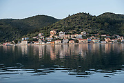 Vathy, the capital of Ithaca, GreeceI. The Greek island is situated in the Ionian Sea off the northeast coast of Kefalonia. Since antiquity, Ithaca has been identified as the home of the mythological hero Odysseus.