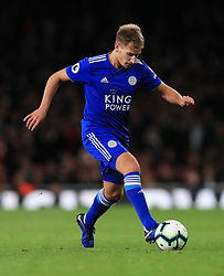 """Leicester City's Marc Albrighton during the Premier League match at the Emirates Stadium, London. PRESS ASSOCIATION Photo. Picture date: Monday October 22, 2018. See PA story SOCCER Arsenal. Photo credit should read: Mike Egerton/PA Wire. RESTRICTIONS: EDITORIAL USE ONLY No use with unauthorised audio, video, data, fixture lists, club/league logos or """"live"""" services. Online in-match use limited to 120 images, no video emulation. No use in betting, games or single club/league/player publications."""