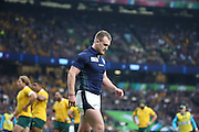 Stuart Hogg looks gutted whilst Australia celebrate during the Rugby World Cup Quarter Final match between Australia and Scotland at Twickenham, Richmond, United Kingdom on 18 October 2015. Photo by Matthew Redman.