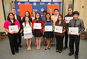 Scholarship winners pose for a photograph following a Broad Foundation research team tour at Ortiz Middle School, May 29, 2013.