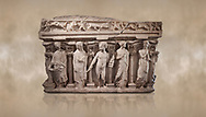 """Roman relief sculpted sarcophagus with kline couch lid, """"Columned Sarcophagi of Asia Minor"""" style typical of Sidamara, 3rd Century AD, Konya Archaeological Museum, Turkey. Against a warm art background. .<br /> <br /> If you prefer to buy from our ALAMY STOCK LIBRARY page at https://www.alamy.com/portfolio/paul-williams-funkystock/greco-roman-sculptures.html . Type -    Konya     - into LOWER SEARCH WITHIN GALLERY box - Refine search by adding a subject, place, background colour, museum etc.<br /> <br /> Visit our ROMAN WORLD PHOTO COLLECTIONS for more photos to download or buy as wall art prints https://funkystock.photoshelter.com/gallery-collection/The-Romans-Art-Artefacts-Antiquities-Historic-Sites-Pictures-Images/C0000r2uLJJo9_s0"""