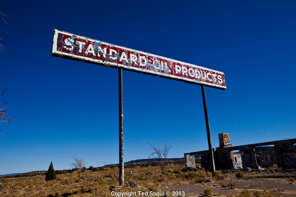 An abandoned Standard Oil Gas Station inside the Navajo Indian reservation.