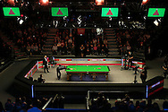 a general view of the arena as Barry Hawkins plays a shot. Barry Hawkins (Eng) v Mark Selby (Eng) , Quarter-Final match at the Dafabet Masters Snooker 2017, at Alexandra Palace in London on Friday 20th January 2017.<br /> pic by John Patrick Fletcher, Andrew Orchard sports photography.