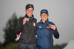 Great Britains team represented by Meghan MacLaren and Michelle Thomson celebrate their bronze medal following the presentation during day eleven of the 2018 European Championships at Gleneagles PGA Centenary Course. PRESS ASSOCIATION Photo. Picture date: Sunday August 12, 2018. See PA story GOLF European. Photo credit should read: Kenny Smith/PA Wire. RESTRICTIONS: Editorial use only, no commercial use without prior permission