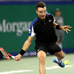 October 11, 2018 - Shanghai, China - Spain's Roberto Bautista Agut hits a return during the men's singles third round match against Switzerland's Roger Federer at the Shanghai Masters tennis tournament on Oct. 11, 2018. Roberto Bautista Agut lost 1-2. (Credit Image: © Fan Jun/Xinhua via ZUMA Wire)