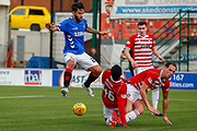 Rangers Daniel Candeias jumps the challenge of the Hamilton Accies defenders during the Ladbrokes Scottish Premiership match between Hamilton Academical FC and Rangers at The Hope CBD Stadium, Hamilton, Scotland on 24 February 2019.