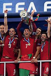 Cristiano Ronaldo of Portugal lift's the Henri Delaunay Trophy as Portugal celebrate Winning the Uefa European Championship   - Mandatory by-line: Joe Meredith/JMP - 10/07/2016 - FOOTBALL - Stade de France - Saint-Denis, France - Portugal v France - UEFA European Championship Final
